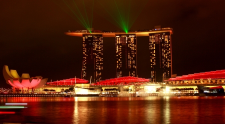Laser show of Singapore Marina Bay