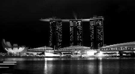 Laser show of Singapore Marina Bay Black and white