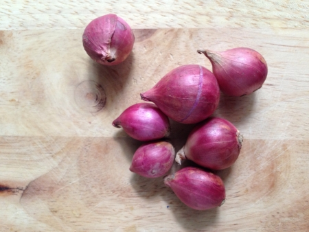 Red onion on Chopping block wood