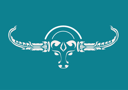 Buffalo Bull him The body is white a blue background