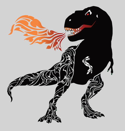 Gestures ferocious dinosaurs spray smoke coming out of his mouth. Vector Illustration