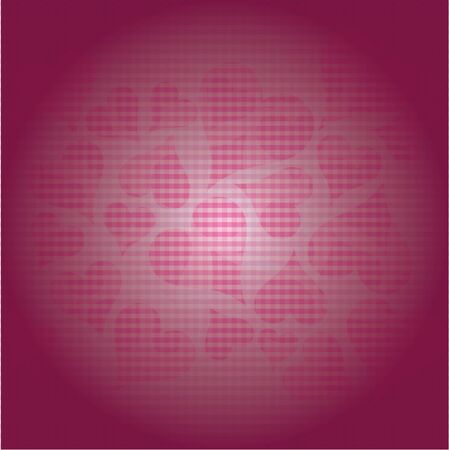 Pink hearts spread in space on a square background several small damp. Illustration