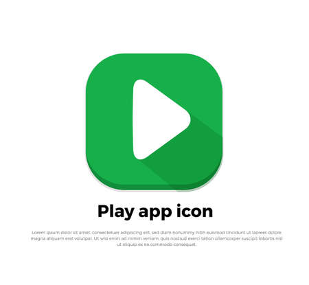 flat: Green Play Button Flat Icon