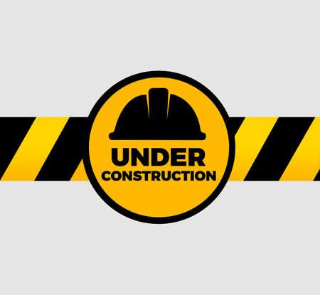 under construction sign: Under Construction Sign Vector Illustration