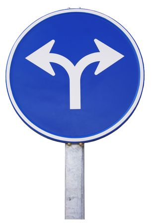 opposite: road sign with opposite arrows. Europe
