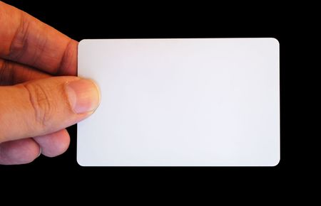 mans Hand Holding a White Card to write down whatever you want on it. Like a credit card photo