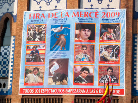 bullfighters: Barcelona, Spain - September 27, 2009: Poster Merce Fair (Barcelona), indicating the dates and bullfighters participating in bullfights during the Merce parties from 24 to 27 September 2009, bullring in Barcelona Editorial