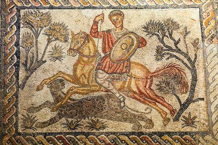 mosaic floor: Roman mosaic fragment, hunting scene, National Museum of Roman Art in Merida, Spain