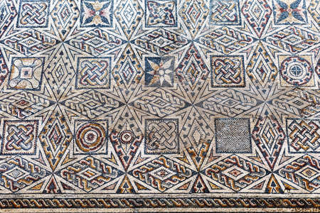 mosaic floor: Roman mosaic fragment, National Museum of Roman Art in Merida, Spain Editorial