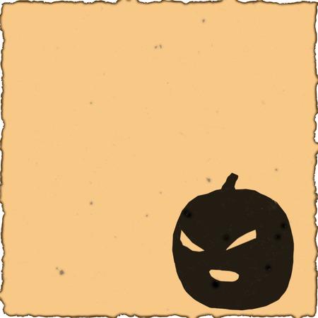 An orange halloween scrapbook page with a pumpkin illustration.