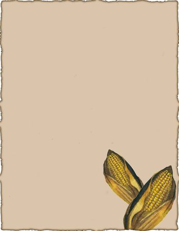 An illustration with corn on a burnt edged page.  Stok Fotoğraf