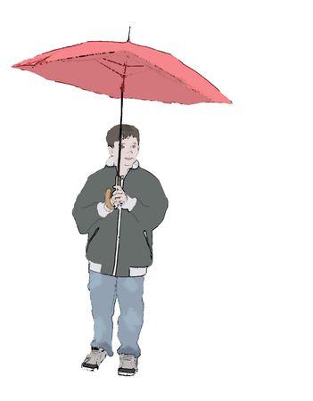 An illustrationof a boy with an umbrella.