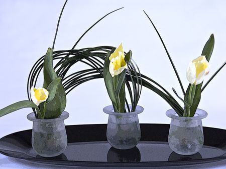 An ikebana arrangement of yellow tulips.