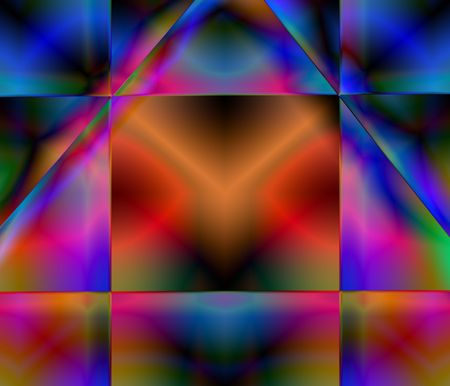 backgraound: A computer generated stained glass-like fractal.