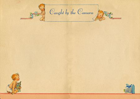A full spread page from a nineteen thirty nine vintage baby book.