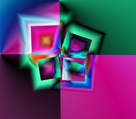 An abstract of boxes, triangles and shapes fractal illustration.