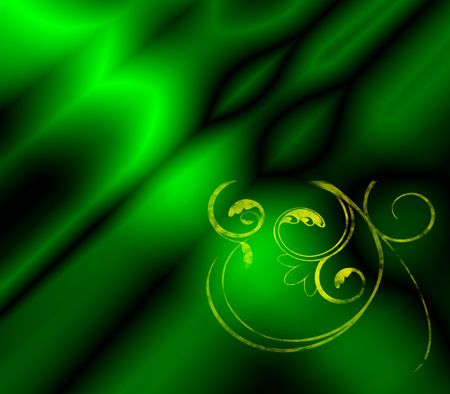 An emerald green background fractal with golden filigree. Stock Photo - 3718789