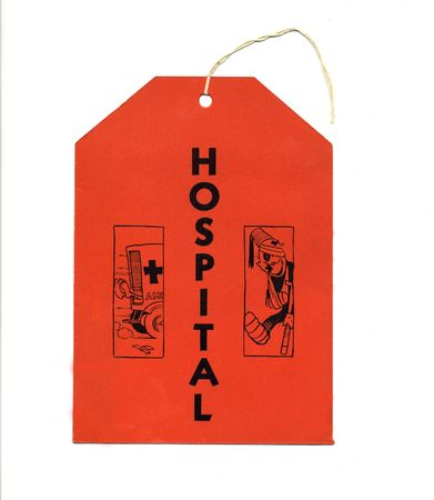 A vintage tag used to announce a hospital.