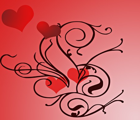 A digatally created illustration of hearts and flourishes.