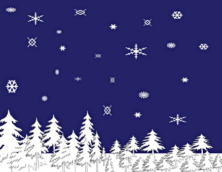 A computer generated snowy night illustration, snow covered trees and snow flakes.