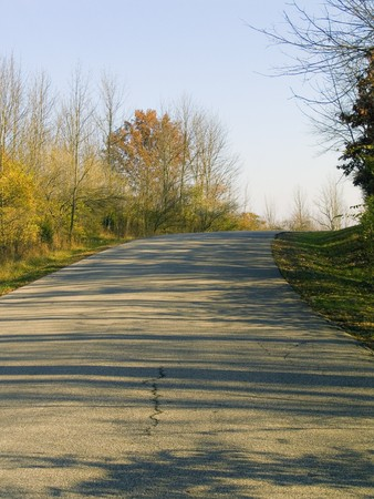 A curvy lane in a country setting with trees and shrubs. Stock Photo