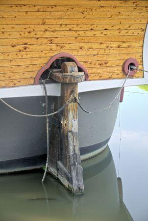 The stern of a replica of a historic ship.