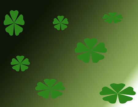 A computer generated illustrationof shamrocks on a vaigated green background. Stock Illustration - 4231974
