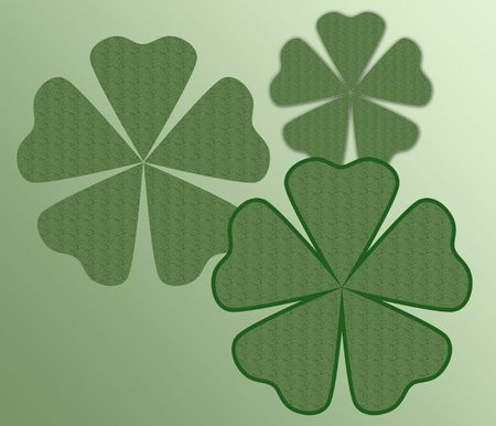 Three shamrocks on a varigated green background.  Stock Photo - 4263723