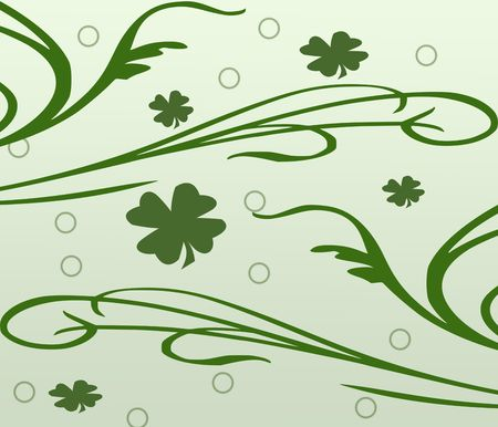 A computer generated illustration for St. Patricks's Day of shamrocks and flourishes.  Stock Illustration - 4291960