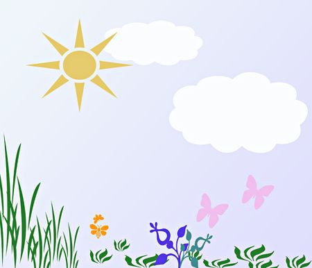 springtime: A computer generated springtime illustration with bees, butterflys and clouds. Stock Photo