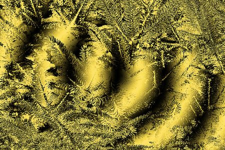 A computer generated background abstract of tree like needles on a misty background of gold.