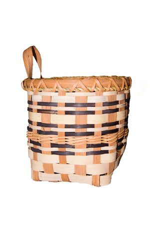 A handmade wicker basket, woven with love and care. Stock Photo