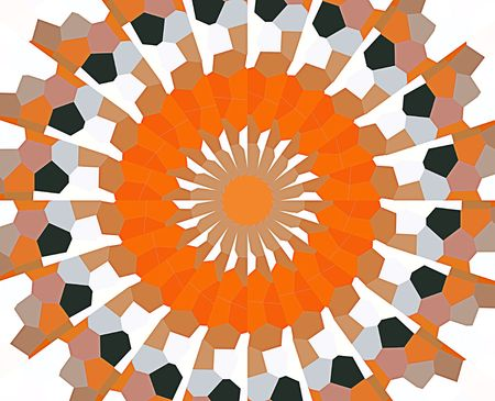 A computer generated background abstract in a sunburst motif.