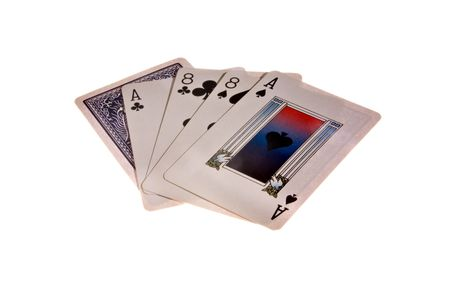 A card hand of aces and eights, dead mans hand.