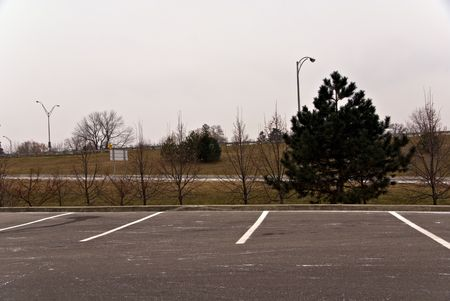 A parking area near an exit ramp of a major freeway.