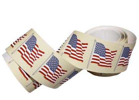 timbre postal: Un rollo de nosotros sellos en el libro blanco.