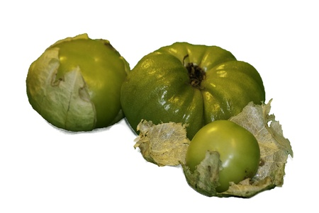 A few tomatillos with their fleshy husks peelings and bright green colors.  Stok Fotoğraf
