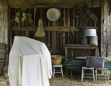 A barn like storage area on a replica of an old farm. Stock Photo - 9749834