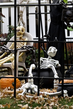 Halloween decorations behind bars in a neighborhood yard.