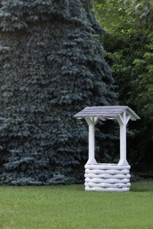 A white painted wishing well in front of a giant evergreen tree.