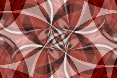 A digitally generated image using a set of algorithms on an original photo to create this abstract of shapes, lines and patterns in various shades of red.