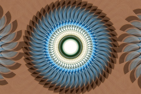 algorithms: A digitally generated image using a set of algorithms on an original photo to create a feather headdress piece abstract.
