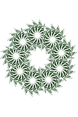 algorithms: A digitally generated image using a set of algorithms on an original photo creating the shape of a wreath.