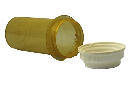 A empty modern pill bottle.  Stock fotó