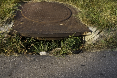 curb: A sewer on a city street with weeds along the curb.