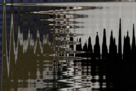 algorithms: A digitally generated image using a set of algorithms on an original photo creating an image of ripples on a wet surface.  Stock Photo