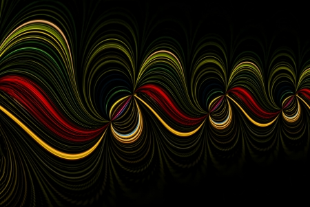 A digitally generated image using a set of algorithms on an original photo creating a play of colored lights.