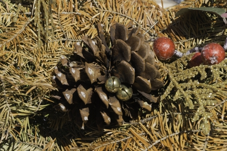 A dried wreath with a pine cone and other ornamental items.