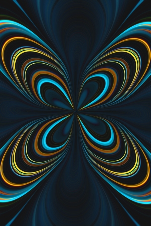 A digitally generated image using a set of algorithms on an original photo creating a butterfly shap in neon colors.