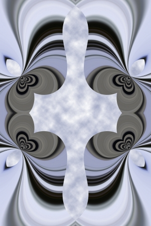 A digitally generated image using a set of algorithms on an original photoor a highrise creating a keyhole affect.